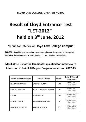 Result of Lloyd Entrance Test - Lloyd Law College