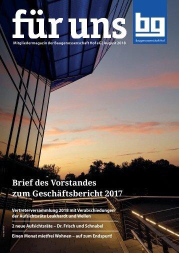 Baugenossenschaft Hof: für uns - August 2018