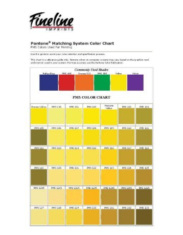 Pantone@ Matching System Color Chart PMS ...   Fineline Imprints