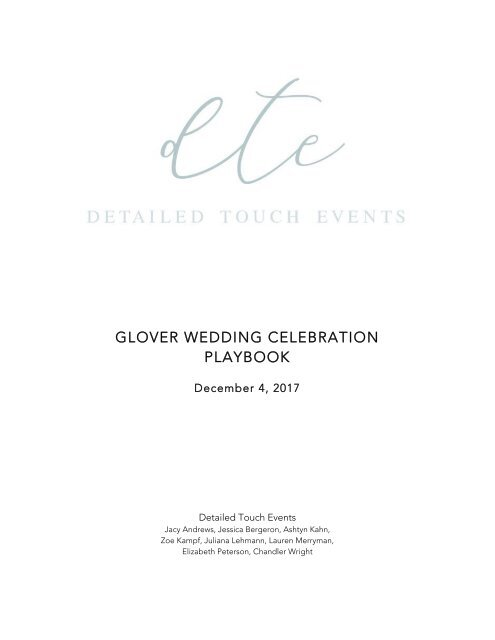 GLOVER WEDDING CELEBRATION