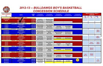 bulldawgs boy's basketball concession schedule