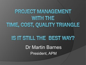 Project management with the Time, Cost, Quality ... - PIPMG.ORG