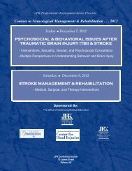 Courses in Neurological Management & Rehabilitation . . . 2012 ...