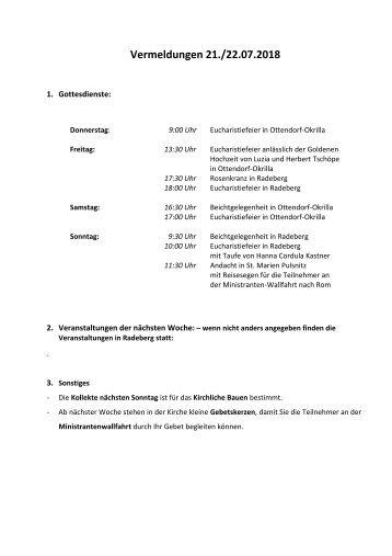 Vermeldungen für KW30/18