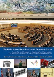 The Berlin International Freedom of Expression Forum - Institute for ...