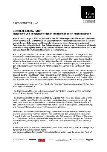 """PM """"Der geteilte Bahnhof"""" - 50 Jahre Mauerbau"""