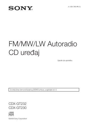 Sony CDX-GT230 - CDX-GT230 Mode d'emploi Croate