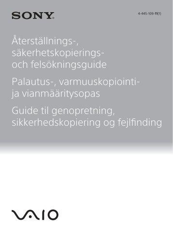 Sony SVS1313L9E - SVS1313L9E Guide de dépannage Finlandais