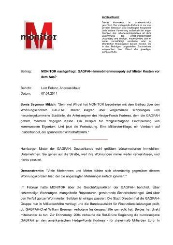 MONITOR nachgefragt: GAGFAH–Immobilienmonopoly ... - WDR.de