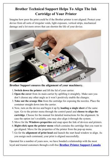 Brother Technical Support Helps To Align The Ink Cartridge of Your Printer