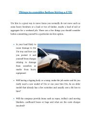 Things to consider before hiring a UTE