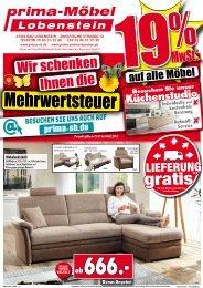19% MWSt. geschenkt auf alle Möbel! Prima-Möbel - 07356 Bad Lobenstein