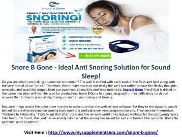 Snore B Gone - Best Anti Snoring Devices and Solutions