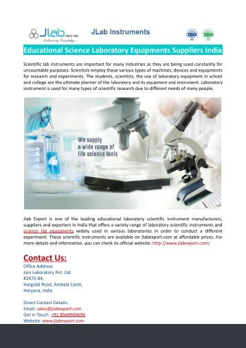 Educational Science Laboratory Equipments Suppliers India