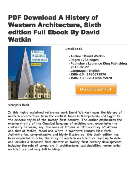 A History Of Western Architecture David Watkin Epub Download