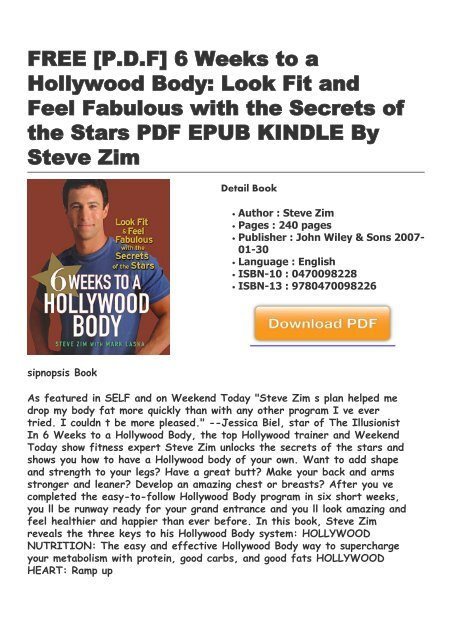 6 weeks to a hollywood body free download