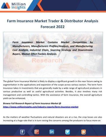 Farm Insurance Market Trader & Distributor Analysis Forecast 2022