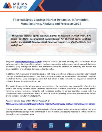 Thermal Spray Coatings Market Dynamics, Information, Manufacturing, Analysis and Forecasts 2025