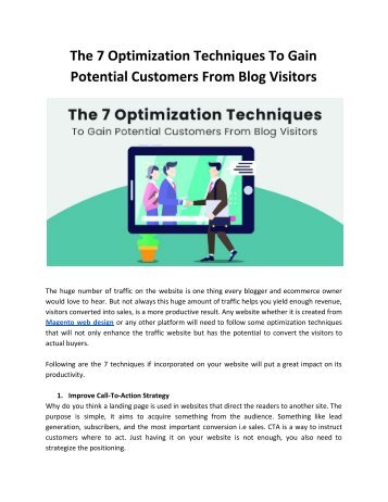 The 7 Optimization Techniques To Gain Potential Customers From Blog Visitors