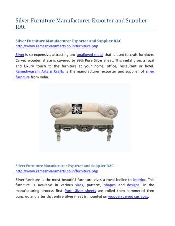 Silver Furniture Manufacturer Exporter and Supplier RAC