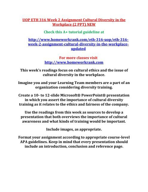 Uop Eth 316 Week 2 Assignment Cultural Diversity In The