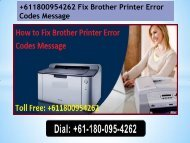+611800954262 Fix Brother Printer Error Codes Message