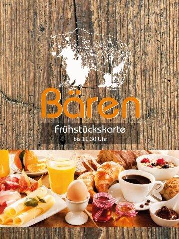 Frühstückskarte Gaststätte Bären