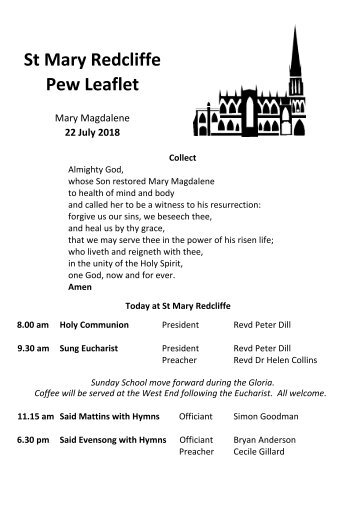 St Mary Redcliffe Church Pew Leaflet - July 22 2018