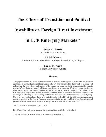The Effects of Transition and Political Instability on Foreign ... - UNECE