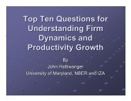 Top Ten Questions On Firm Dynamics And Productivity