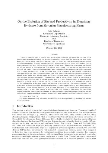 Evidence from Slovenian Manufacturing Firms
