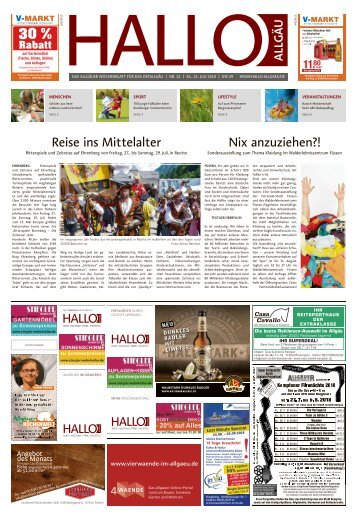 Hallo-Allgäu Kaufbeuren, Ostallgäu vom Samstag, 21.Juli