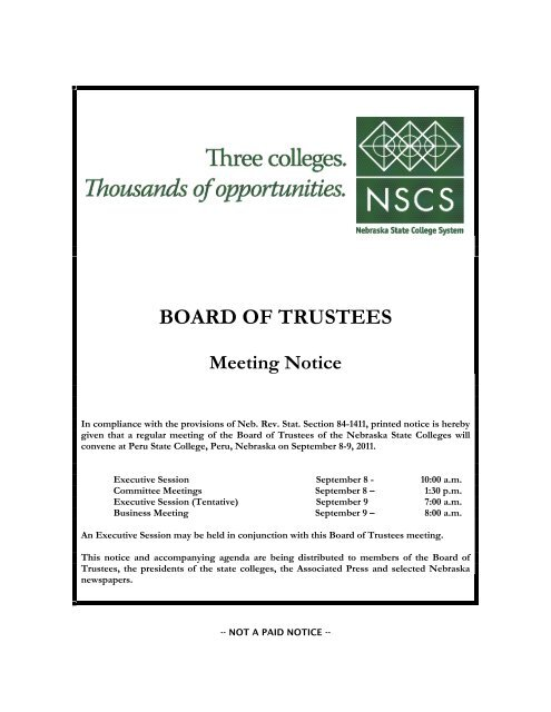Unl Academic Calendar 2022.Board Of Trustees Meeting Notice Nebraska State College