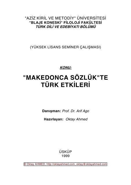 Makedonca Sozluk Te Turk Etkileri Danisman Turuz Info