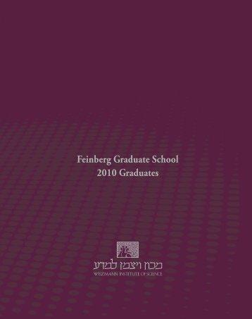 2010 Graduates Feinberg Graduate School - Weizmann Institute of ...