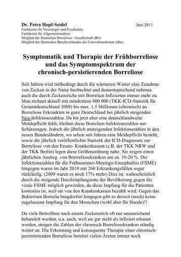 Symptomatik und Therapie der Frühborreliose und das ...