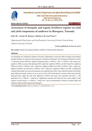 Assessment of inorganic and organic fertilizers regimes on yield and yield components of sunflower in Morogoro, Tanzania