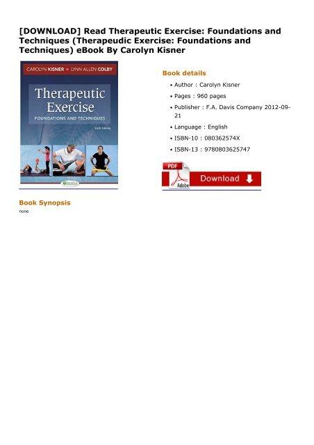 Kisner pdf exercise therapeutic
