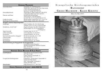 rangsdorf gross machnow – klein kienitz - Evangelischer ...