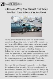 4 Reasons Why You Should Not Delay Medical Care After a Car Accident