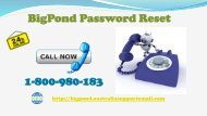 Bigpond Customer Service at 1-800-980-183 For Password Reset