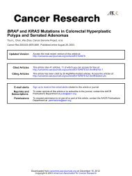 BRAF and KRAS Mutations in Colorectal ... - Cancer Research