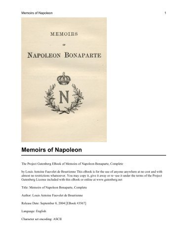 Memoirs of Napoleon - The Free Information Society