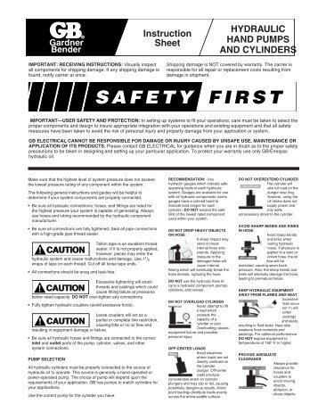Instruction Sheet HYDRAULIC HAND PUMPS ... - Gardner Bender