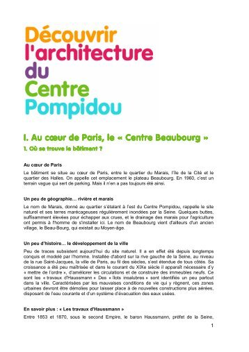 Dossier pédagogique - Découvrir l'architecture du Centre Pompidou