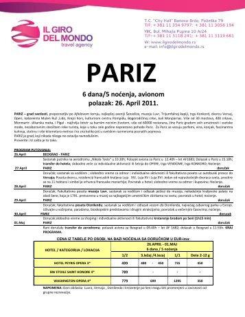 6 dana/5 nodenja, avionom polazak: 26. April 2011. - Il Giro del Mondo