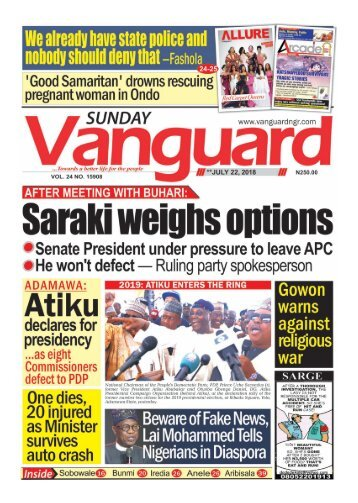 22072018 - AFTER MEETING WITH BUHARI: Saraki weighs options