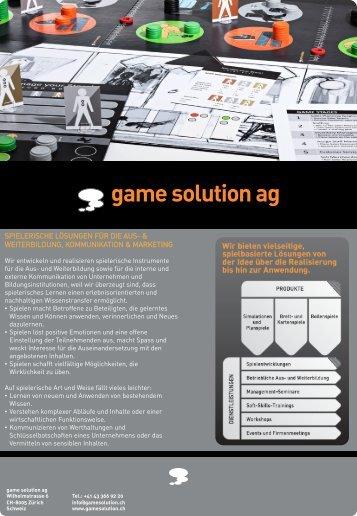 SPIELERISCHE LÖSUNGEN FÜR DIE AUS ... - game solution ag