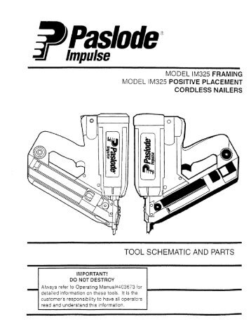 Paslode Im325 Schematic - Illustration Of Wiring Diagram •