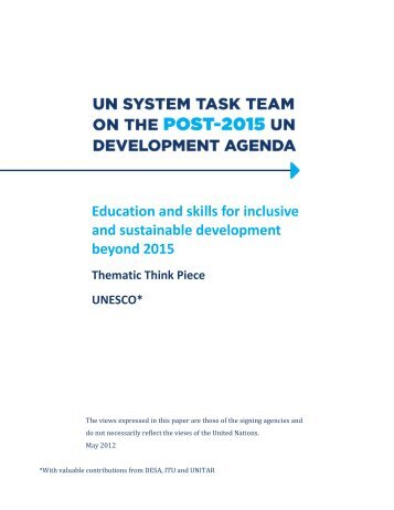 Education and skills for inclusive and sustainable development ...